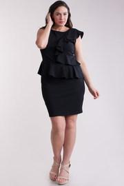 Plus Size Cascading Trim Peplum Tube Dress