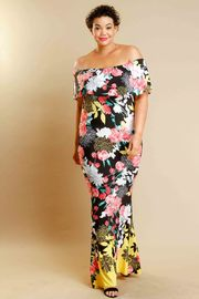 Plus Size Off Shoulder Floral Maxi Spring Dress