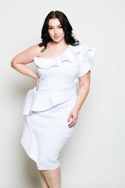 Plus Size Flounce Detailed One Shoulder Midi Dress