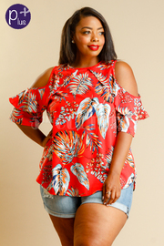 Plus Size Cold Shoulder Feather Printed Blouse