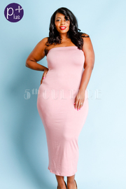 Plus Size Strapless Basic Tube Midi Dress