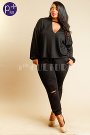 Plus Size Keyhole Terry Sweater Jogger Pants Set