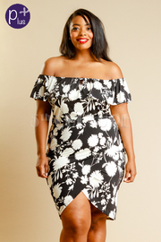 Plus Size Off Shoulder Flounce Overlap Dress