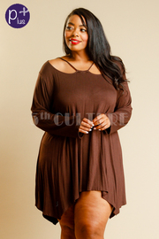 Plus Size Cutout Open Shoulder Jersey Top