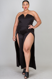 Plus Size Sweetheart Double Slit Palazzo Jumpsuit