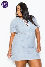 Plus Size Distressed Tie Up Tunic Dress