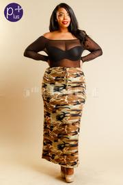 Plus Size Sexy In Camo Maxi Pencil Skirt