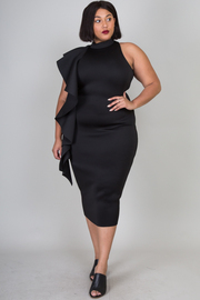 Plus Size Cascade Side One Strap Casual Midi Dress Ruffle Dress