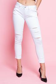 Destroyed 5-Pocket White Denim Jeans