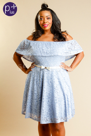 Plus Size Flounce Laced Flared Belted Dress