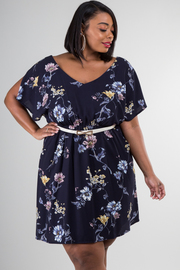 Plus Size Cute V-Neck Floral Sheer Dress