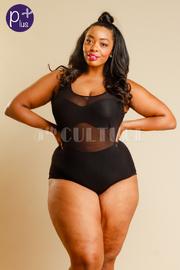 Plus Size All Mesh See Through Sexy Bodysuit