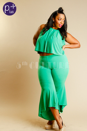 Plus Size Summer 2-Pieced Cropped Palazzo Pants Set