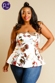 Plus Size Strapless Foiled Floral Peplum Top