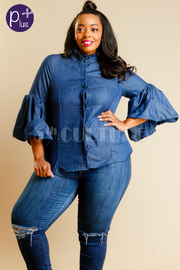 Plus Size Button Down Bell Sleeved Chambray Shirt