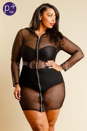 Plus Size See Through All Net Mini Zip Down Hoodie Dress