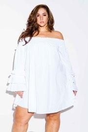 Plus Size Smocked Off Shoulder Tunic Flared Dress