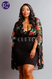 Plus Size Floral Mesh Cape Side Open Mini Dress