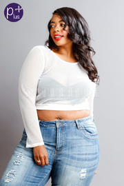 Plus Size All Net Cropped Solid Top