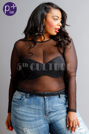 Plus Size See Through Mesh Long Sleeved Top