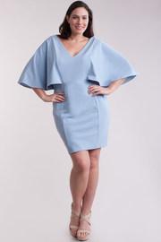 Plus Size V-neck Flounce Sleeved Midi Bodycon Dress