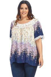 Plus Size Crochet Trim Lined Floral Sheer Blouse