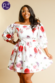 Plus Size Pretty In Floral Bubble Skater Ponti Dress