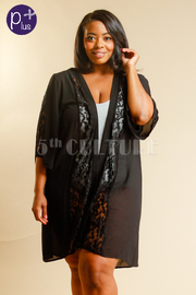 Plus Size Laced Trim Sheer Cardigan