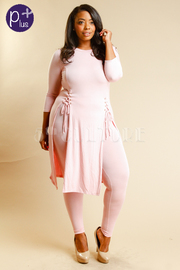 Plus Size Double Tie Up Slit Top With Pants Set