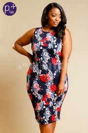Plus Size Floral Bodycon Tube Dress