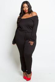 Plus Size Off Shoulder Basic But Cute Jersey Pocket Jumpsuit