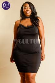 Plus Size Cowl Neck Criss Cross Straps Back Tube Dress