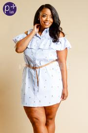 Plus Size Cold Shoulder Striped Sailor Button Down Belt Dress