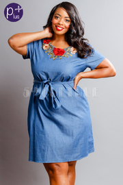 Plus Size Roses Patch Chambray Tie Dress