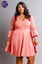 Plus Size V-neck Bell Sleeved Flared Dress