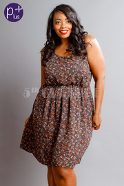Plus Size Sweet Floral Flared Dress