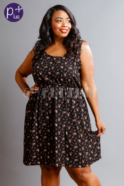 Plus Size Floral Summer Flared Sheer Dress