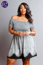 Plus Size Bohemian Printed Smocked Off Shoulder Dress