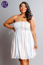 Plus Size Strapless Smocked Pattern Flared Dress