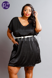 Plus Size Cute Silky Bow Belted Waist Flared Dress