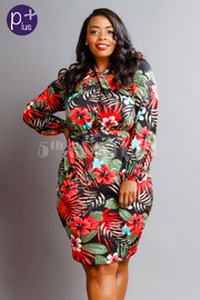 Plus Size Sexy In Tropical Tie Midi Dress
