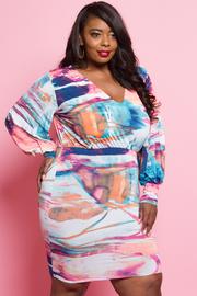 Plus Size V-neck Watercolor Bubbly Midi Dress