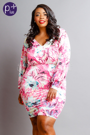 Plus Size V-neck Floral Bubble Midi Dress