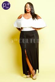 Plus Size Sexy Double Slit Tie Up Maxi Skirt