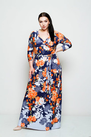 Plus Size Surplice Border Floral Tie Waist Maxi Dress