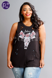 Plus Size Floral Distressed Bull Graphic Top
