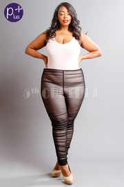 Plus Size Sexy In 2-Piece Basic Bodysuit Ruched Mesh Pants Set