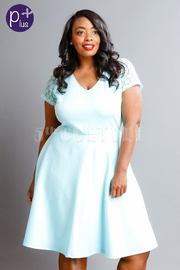 Plus Size Spring Laced Sleeved Flared Dress