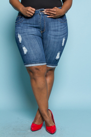Plus Size Ripped In Style Capri Denim Shorts