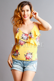 Cute Floral Surplice Summer Tank